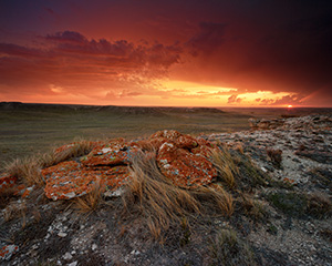 Sunset at Agate Fossil Beds National Monument in western Nebraska after an intense summer storm. - Nebraska Landscape Photograph