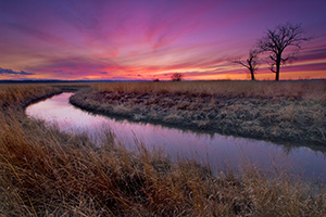 A small chute flows toward an early spring sunset through a tract of native prairie grasses at Boyer Chute National Wildlife Refuge near Ft. Calhoun. - Nebraska Photograph