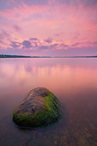 A beautiful sunset illuminates Branched Oak Lake in Lancaster County, Nebraska on a cool August evening. - Nebraska Landscape Photograph