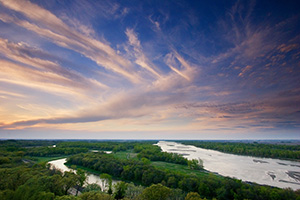 Sunset over the Platte River in Nebraska from the Tower at Mahoney State Park. - Nebraska Photograph