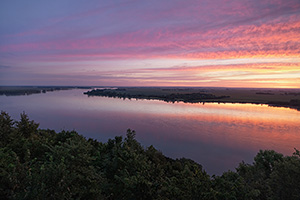 A beautiful sunrise illuminates the Missouri River from the scenic overlook at Ponca State Park in Dixon County. - Nebraska Photograph