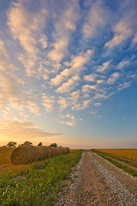 Hay bales line a country road that goes into the sunset while clouds float above. - Nebraska Photograph