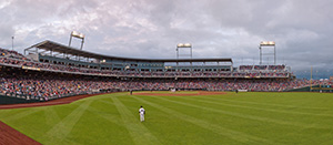2011 College World Series, Virginia competed against USC in TD Ameritrade Stadium, the first year of the stadium.  This photograph is a combination of 6 exposures stitched together for detail. - Nebraska Photograph
