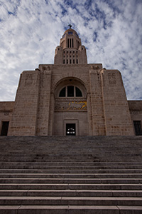 The Nebraska state capitol building in Lincoln, completed in 1932 is built with Indiana limestone and contained several design innovations for the time.  This building houses the only state unicameral type government in the United States. - Nebraska Photograph