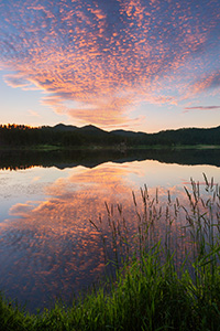 Stockade Lake in the Black Hills of South Dakota reflects the warmth of the rising sun. - South Dakota Landscape Photograph