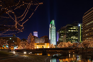 Downtown Omaha Celebrates the Holiday Lights Festival by putting holiday lights up in the downtown area around Gene Leahy Mall. - Nebraska Landscape Photograph