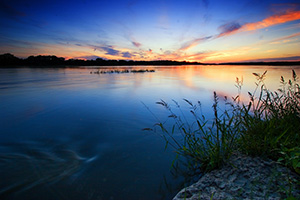 Sunset over the Platte River in Eastern Nebraska near Schramm State Recreation Area. - Nebraska Photograph
