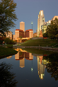 Downtown Omaha, Nebraska from the Central Park Mall just before dawn. - Nebraska Photograph