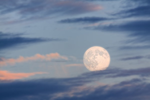 An late autumn moon rises above DeSoto National Wildlife Refuge. - Iowa Photograph