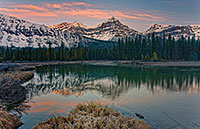 The morning sun hits the Mt. Lauriet near an Oxbow of the Mistaya River in Banff National Park. - Canada Photograph