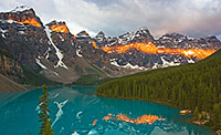 Lake Moraine in the Valley of the Ten Peaks at Sunrise. - Canada Photograph