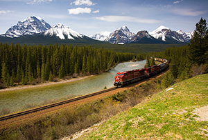 Morant's Curve is one of the most photographed spots for trains along the Canadian Railway. - Rockies Photograph
