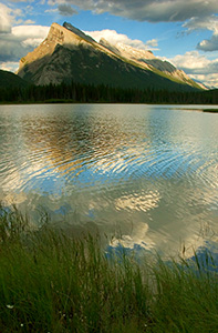 Mt. Rundle and the reflecting pools near the township of Banff at sunset. - Rockies Photograph