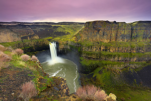 On a cool February evening the beautiful Palouse falls in south central Oregon cascades down almost 200 feet. - Pacific Photograph