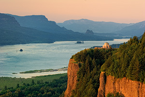 A view of the Vista House overlooking the Columbia River Gorge in Oregon. - Pacific Photograph