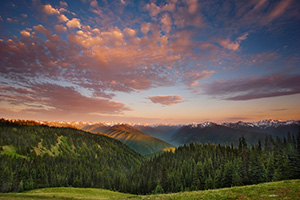 The Olympic Mountain Range in Olympic National Park from Hurricane Ridge.  Designated a 95% wilderness, Olympic National Park is located on the Olympic Pennisula in Washington state. - Pacific Photograph
