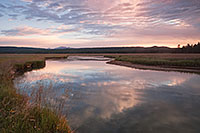 On a cool morning on the Gibbon River in Yellowstone National Park, the sun rises in the east illuminating the sky with pastel colors. - Wyoming Landscape Photograph